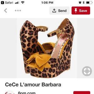 """Barbara"" by Cece Lamour Leopard Wedges SZ 6"